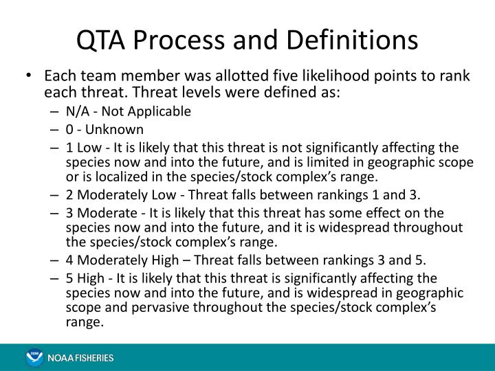 QTA Process and Definitions