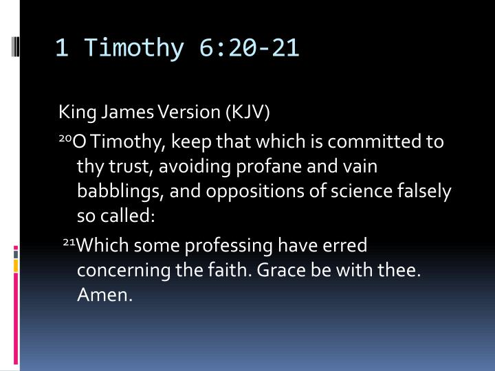 1 Timothy 6:20-21