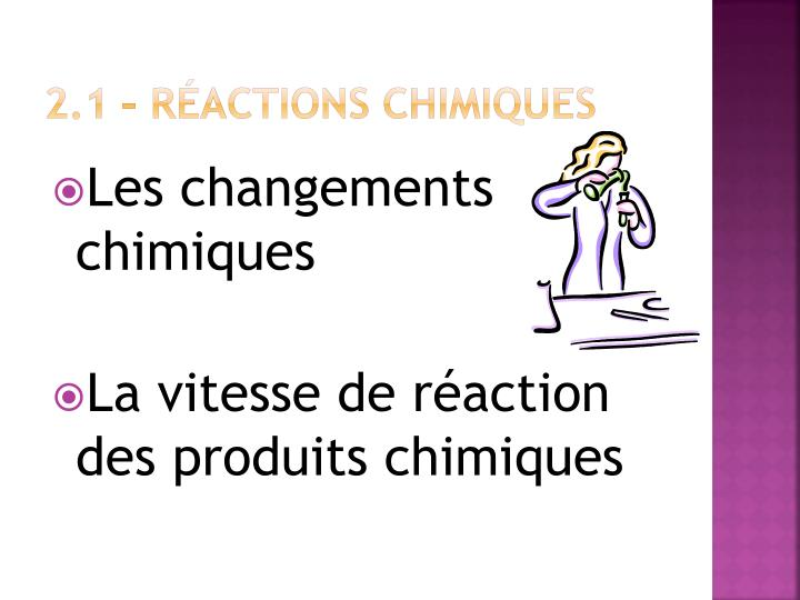 2.1 – Réactions chimiques