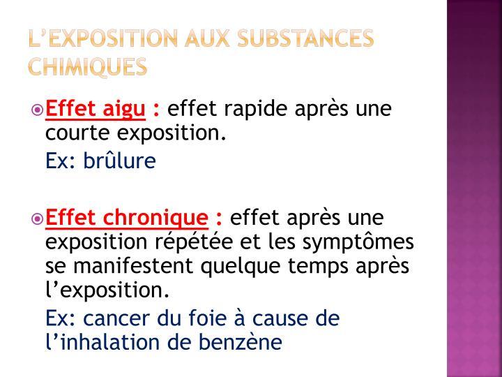L'exposition aux substances chimiques