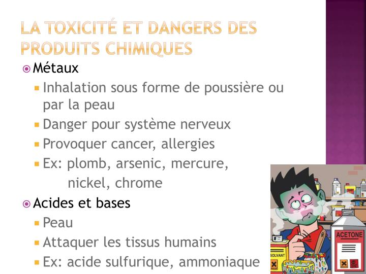 La toxicité et dangers des produits chimiques