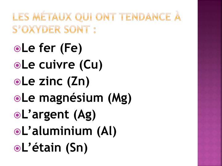 Les Métaux qui ont tendance à s'oxyder sont :