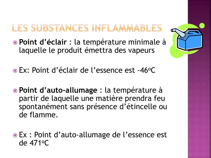 Les substances inflammables
