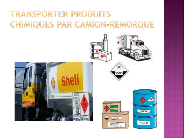 Transporter produits chimiques par camion-remorque