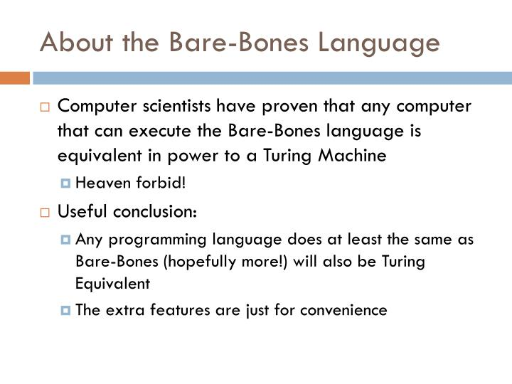 About the Bare-Bones Language