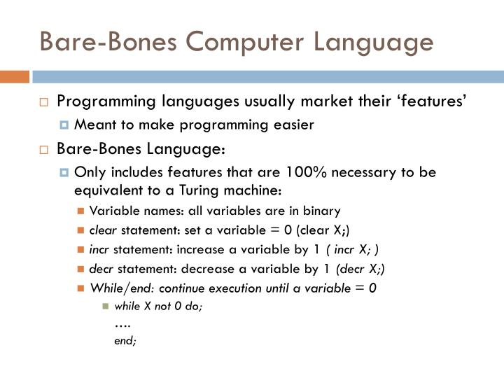Bare-Bones Computer Language