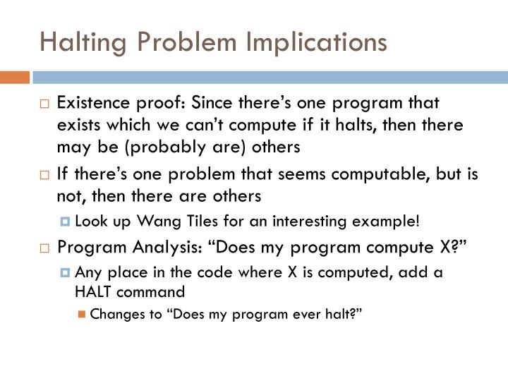 Halting Problem Implications