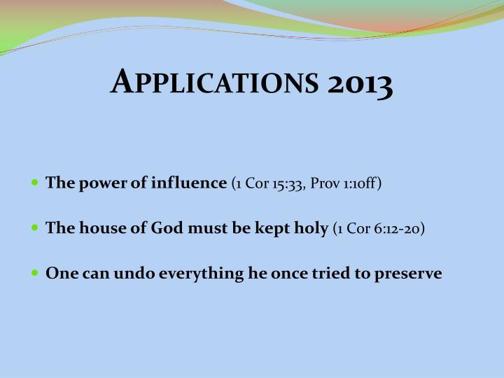 Applications 2013