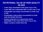 nutritional value of high quality silage