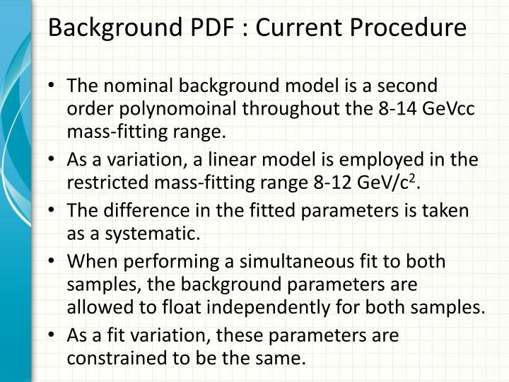 Background PDF : Current Procedure