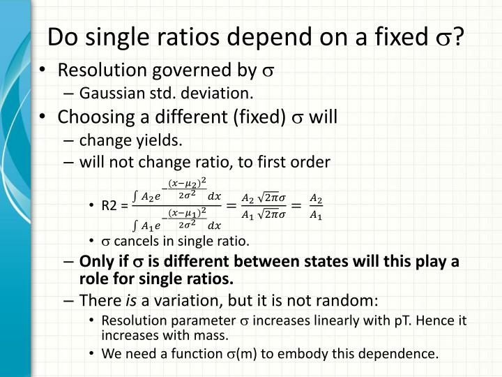 Do single ratios depend on a fixed
