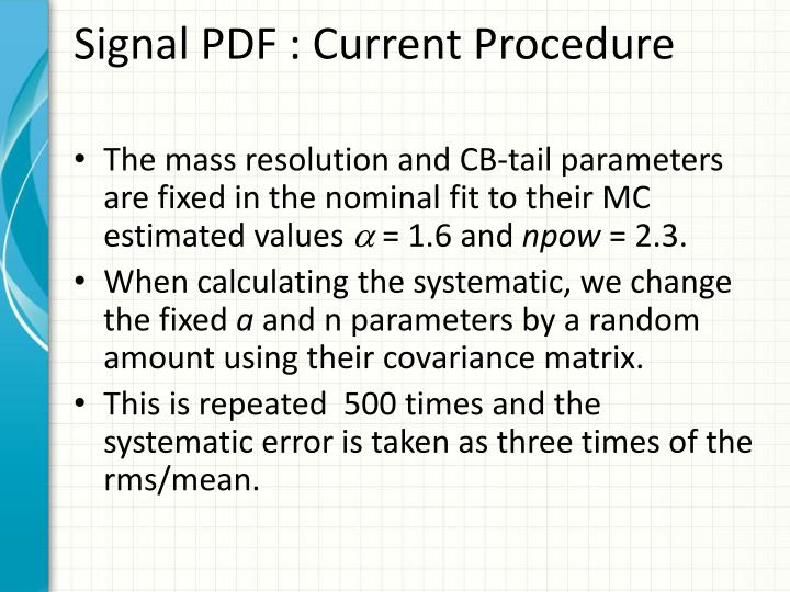 Signal pdf current procedure