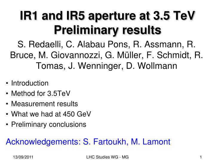 Ir1 and ir5 aperture at 3 5 tev preliminary results