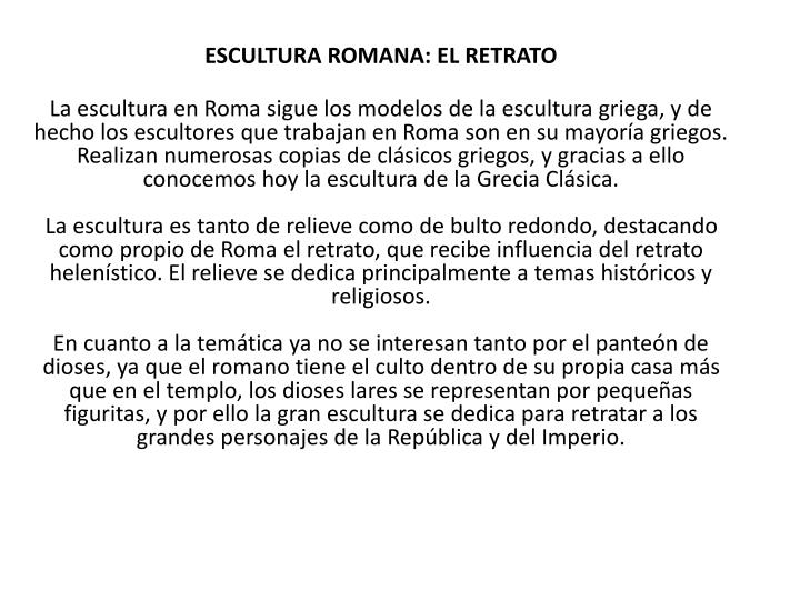 ESCULTURA ROMANA: EL RETRATO