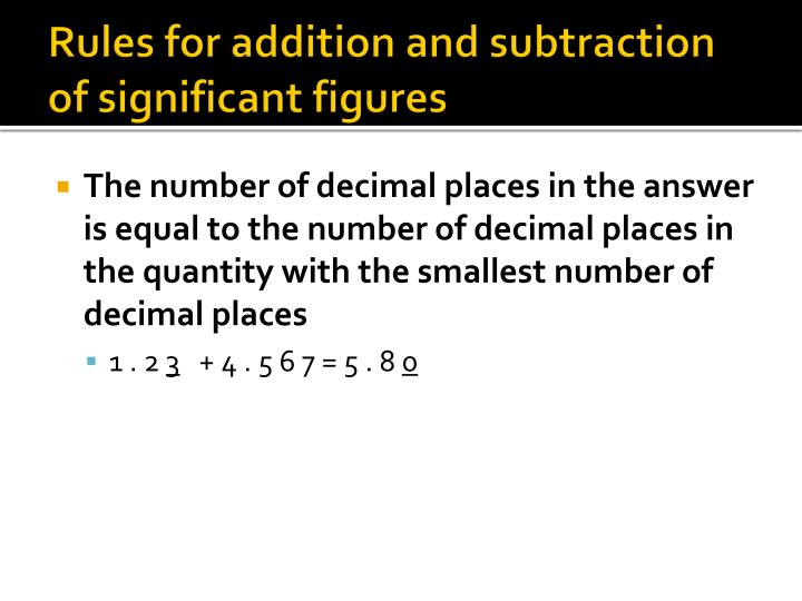 Rules for addition and subtraction of significant figures