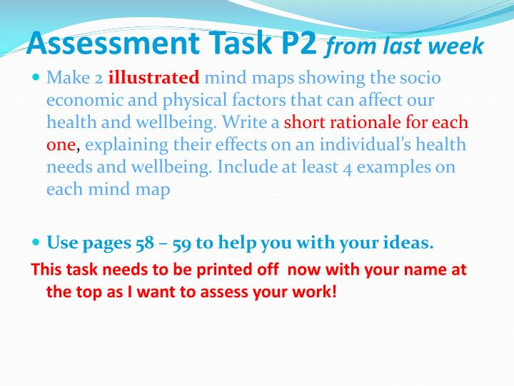 Assessment task p2 from last week