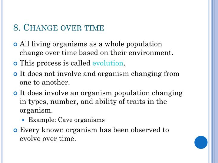 8. Change over time