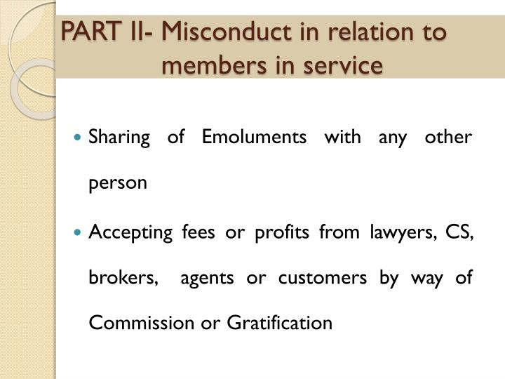 PART II- Misconduct in relation to members in service