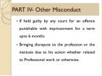 part iv other misconduct
