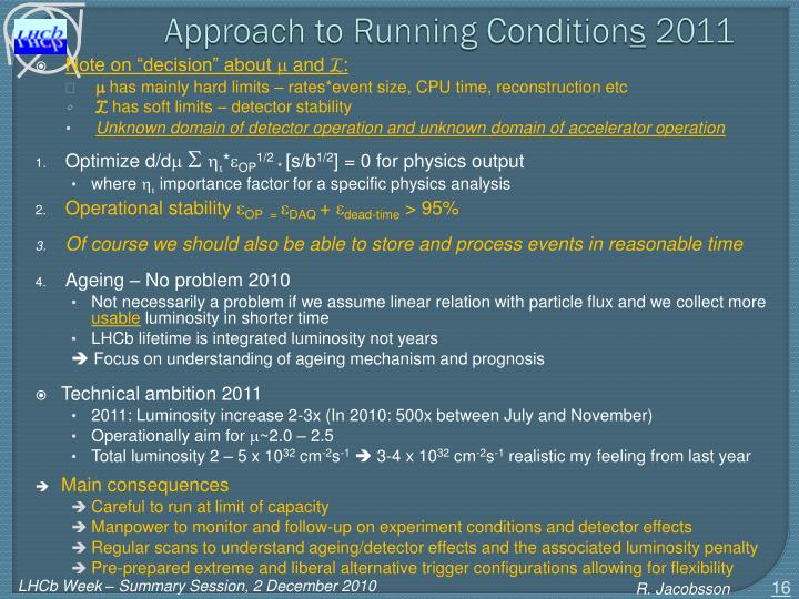 Approach to Running Condition