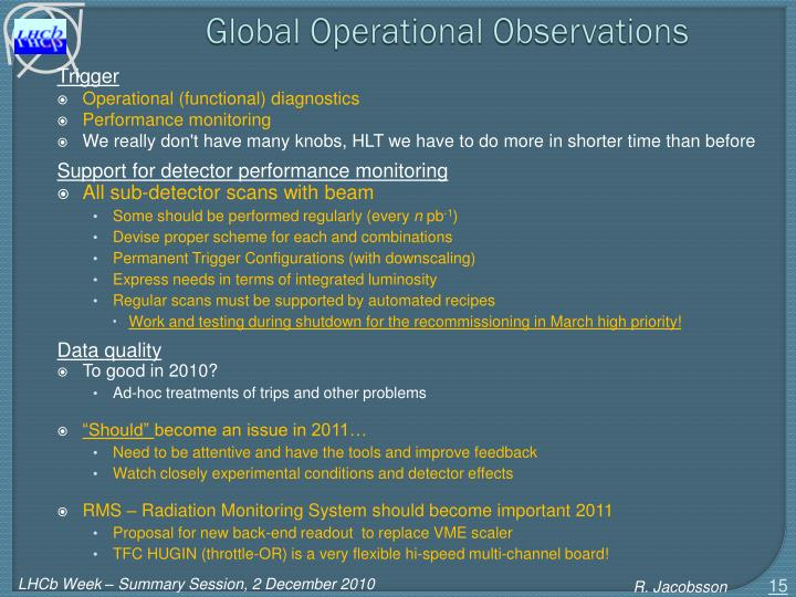 Global Operational Observations
