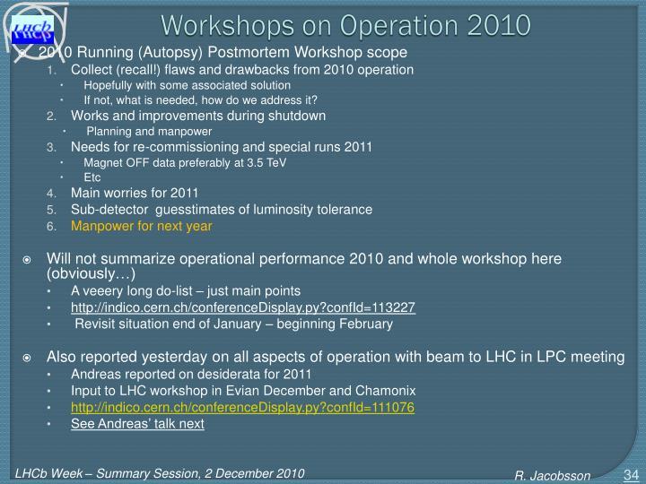 Workshops on Operation 2010