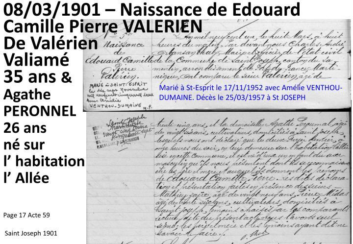 08/03/1901 – Naissance de Edouard Camille Pierre VALERIEN