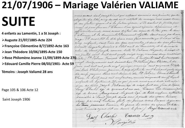 21/07/1906 – Mariage Valérien VALIAME