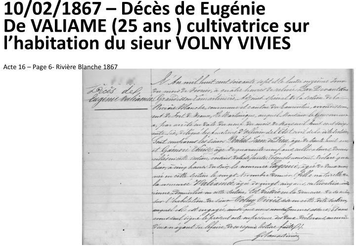 10/02/1867 – Décès de Eugénie