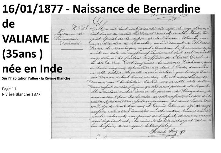 16/01/1877 - Naissance de Bernardine