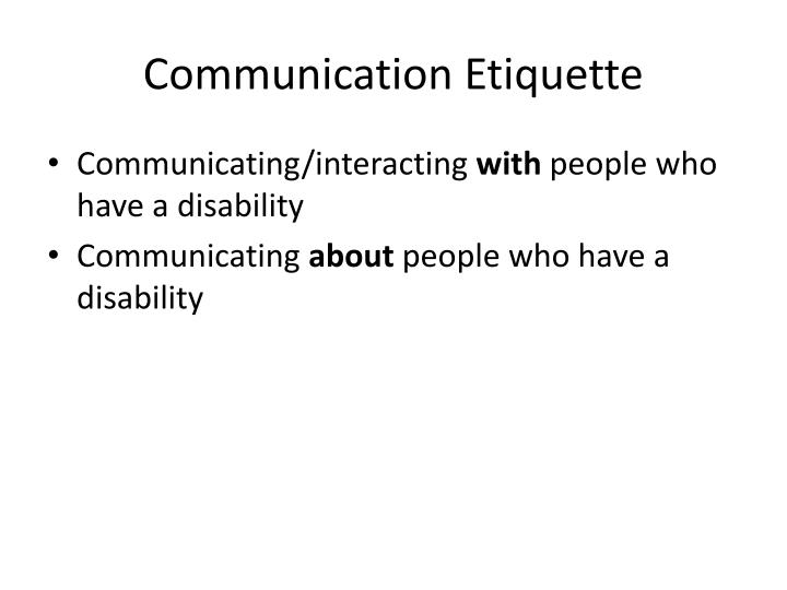 Communication Etiquette
