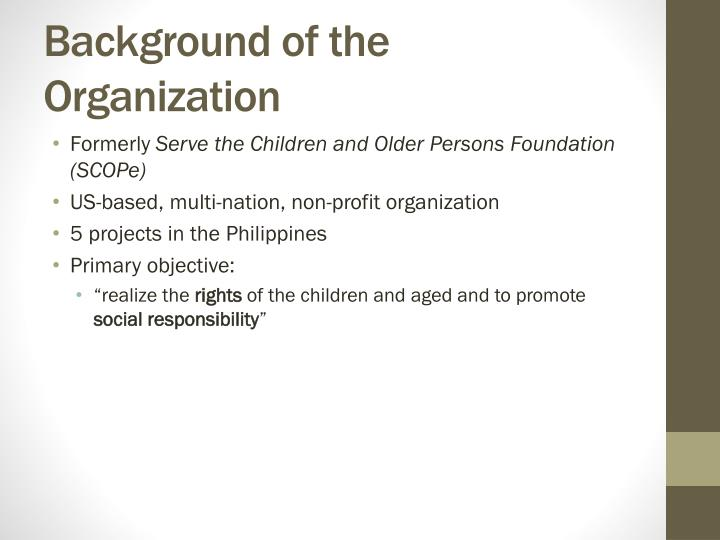 Background of the Organization