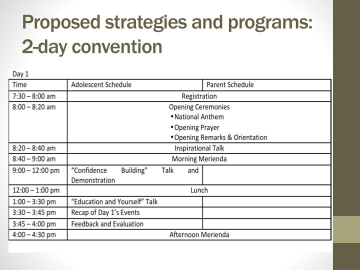 Proposed strategies and programs: