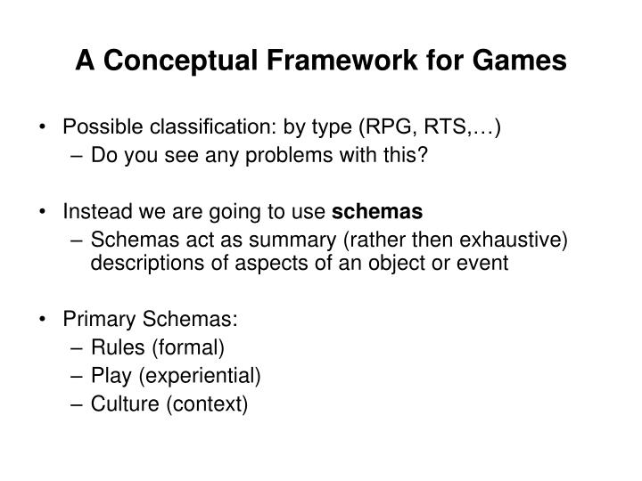 A Conceptual Framework for Games
