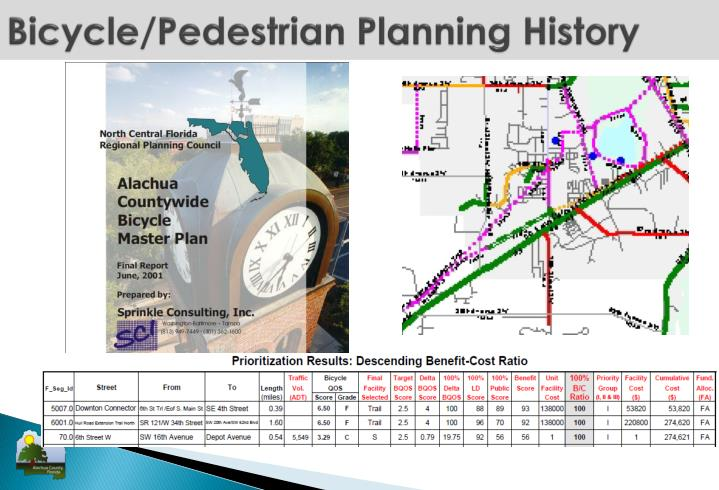 Bicycle pedestrian planning history