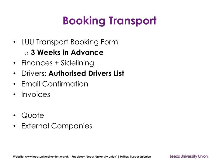 Booking transport