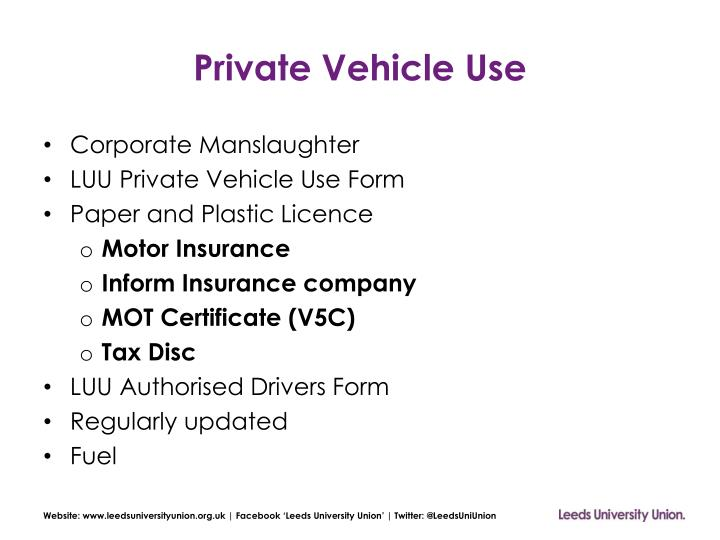 Private Vehicle Use
