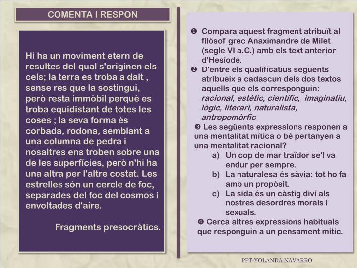COMENTA I RESPON
