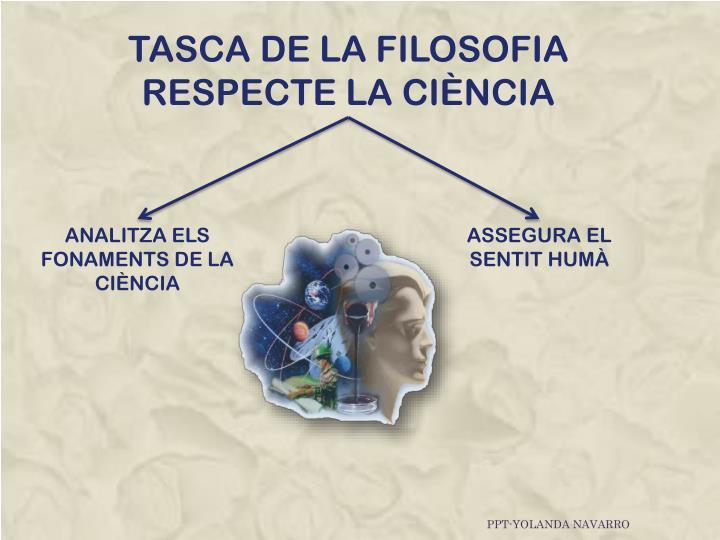TASCA DE LA FILOSOFIA RESPECTE LA CIÈNCIA