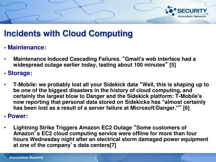 Incidents with Cloud Computing