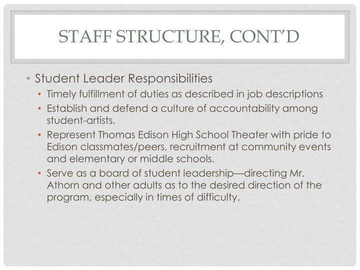 Staff structure, cont'd