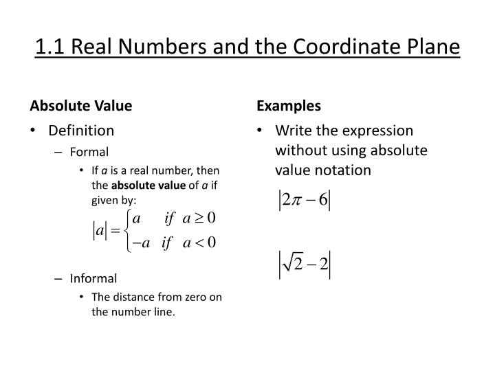 1 1 real numbers and the coordinate plane