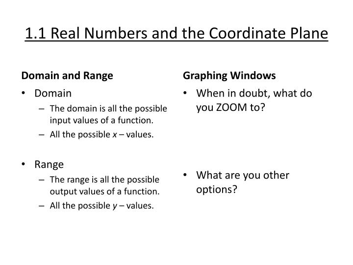 1 1 real numbers and the coordinate plane1