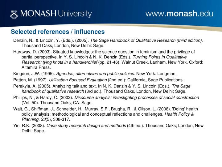 Selected references / influences