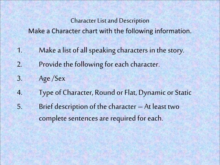 Character List and Description