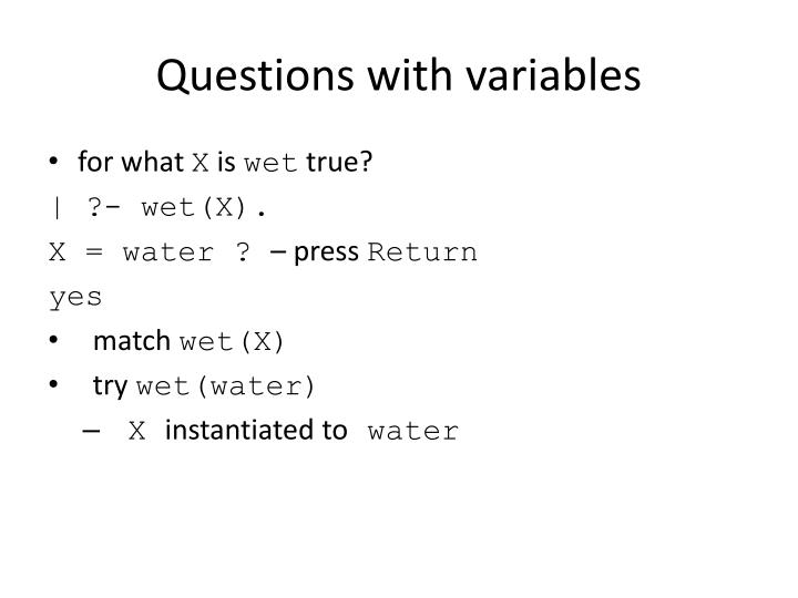 Questions with variables