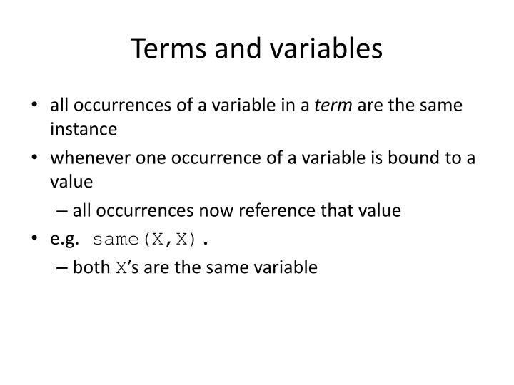 Terms and variables