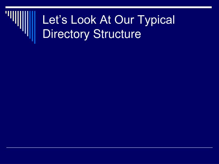 Let's Look At Our Typical Directory Structure