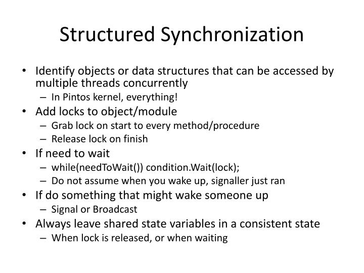 Structured Synchronization