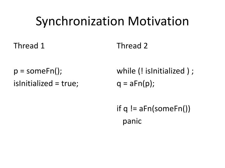 Synchronization Motivation